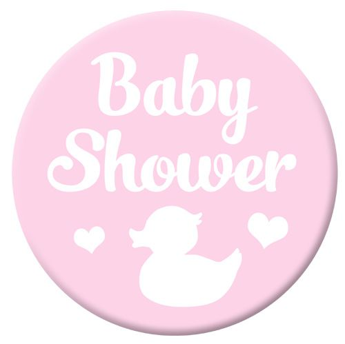 Pale Pink Baby Shower Badge- 58mm- Each