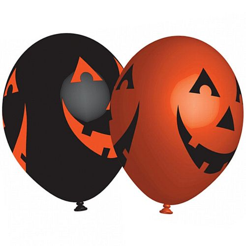"Orange & Black Pumpkins Latex Balloons - 11"" - Pack of 6"