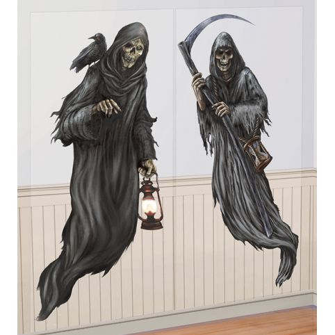 Grim Reaper Wall Decorations - 1.65m - Pack of 2