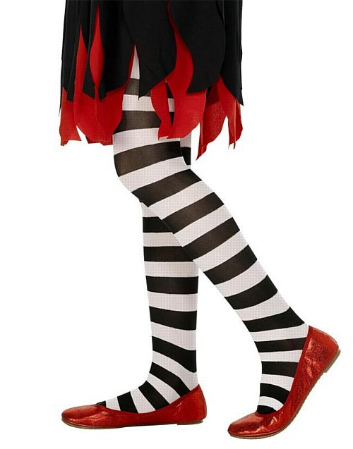 Children's Striped Tights Black & White- Large