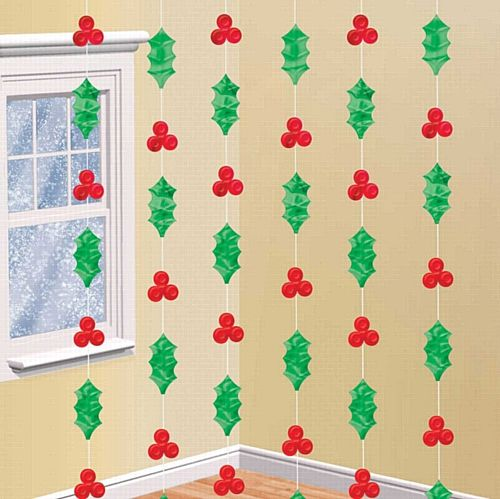Holly String Decorations - 2.13m - Pack of 6
