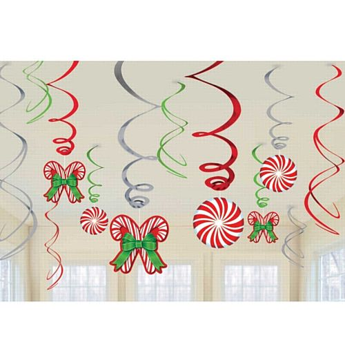 Candy Cane Foil Swirl Decorations - Pack of 12