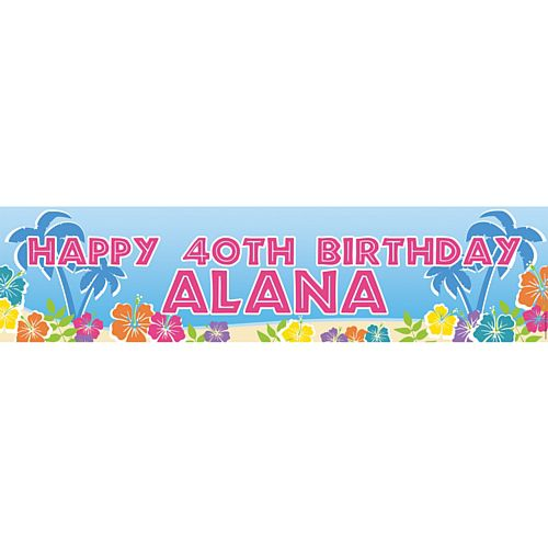 Island Party Happy Birthday Personalised Banner - 1.2m