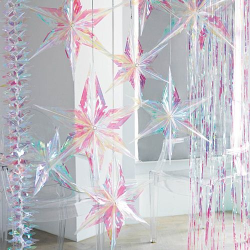 Decadent Decs Iridescent Star Decorations - Assorted - Pack of 3