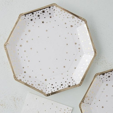 Gold Metallic Star Foiled Plates - 23cm - Pack of 8