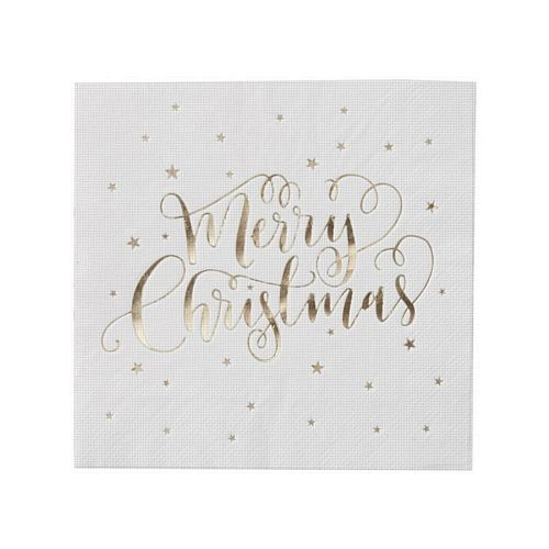"Gold Metallic Star ""Merry Christmas"" Napkins - 33cm - Pack of 20"