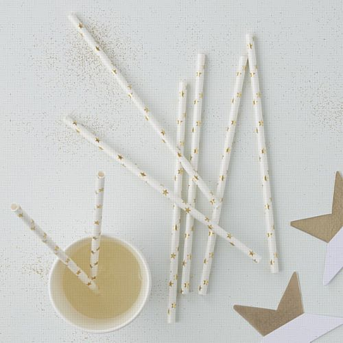 Gold Metallic Star Straws - 19cm - Pack of 25