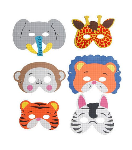 Assorted Jungle Foam Animal Masks - Box of 288