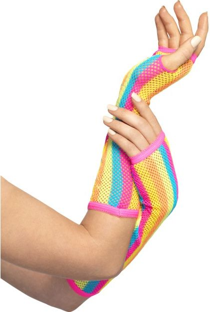Multicoloured Fishnet Gloves