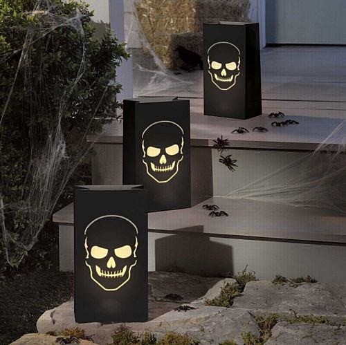 Halloween Skull Lantern Bags - 28cm - Pack of 6