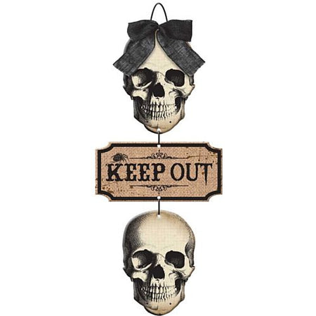 Click to view product details and reviews for Wooden Halloween Keep Out Sign 48cm.