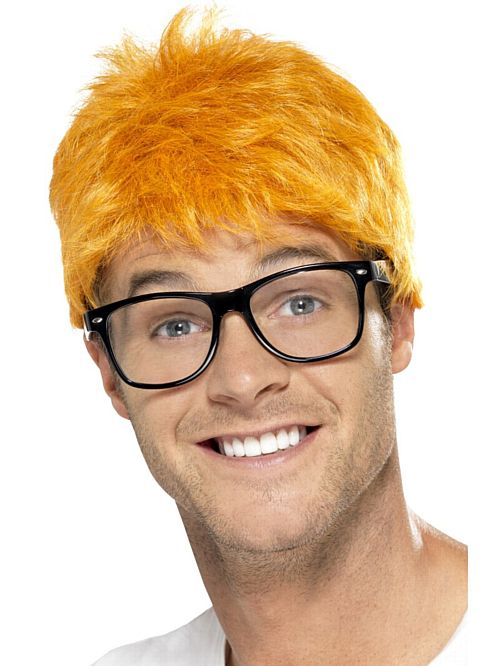 90's TV Host Ginger Wig And Glasses