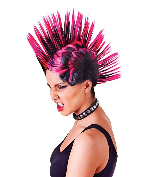 Black And Pink Mohican Wig