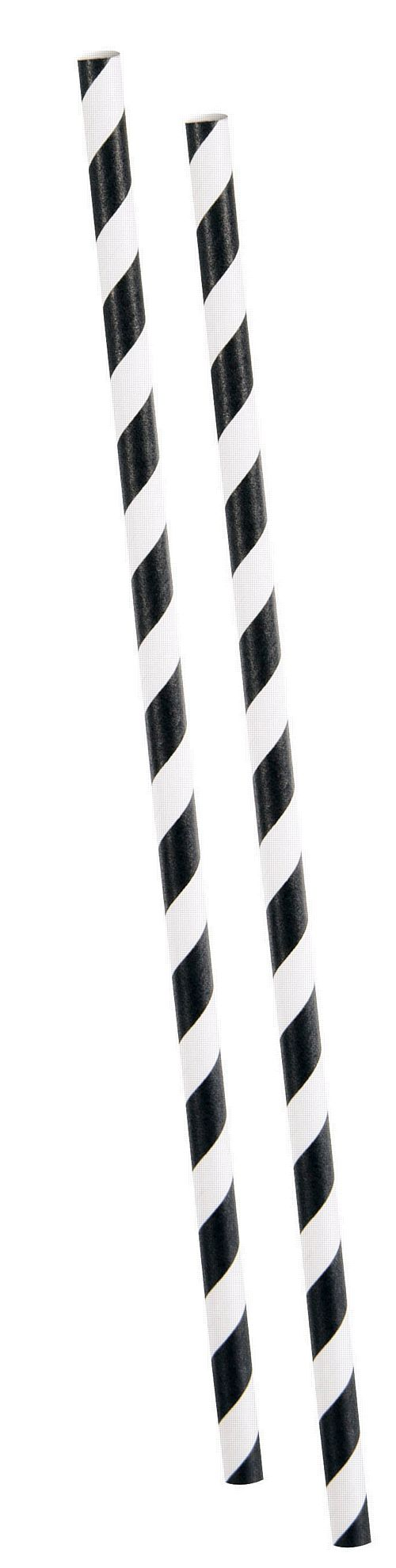 Black Striped Paper Straws - Pack of 10