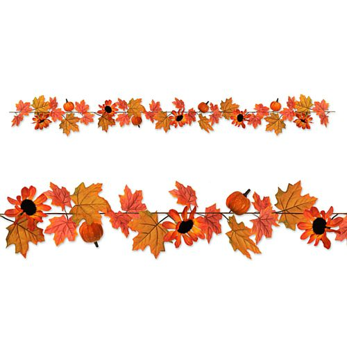 Autumn Fabric Leaf and Pumpkin Garland - 1.83m