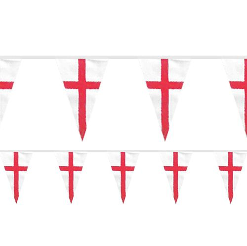 England St. George's Flag Fabric Pennant Bunting - 20m
