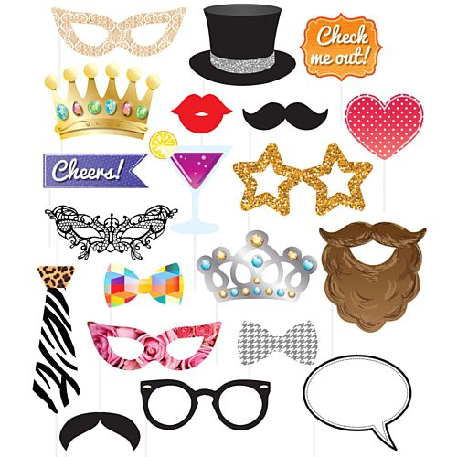 Party Photo Booth Props - Assorted Designs - Pack of 20