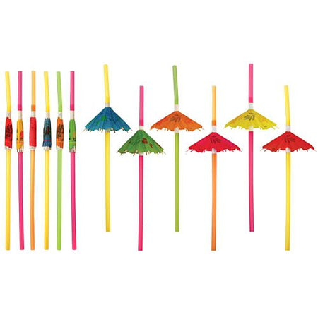 Umbrella Straws - Assorted Colours - Pack of 12