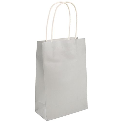 Silver Paper Party Bags - 21cm - Each