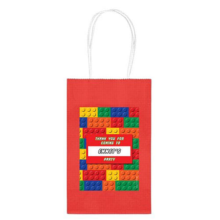 Personalised Building Blocks Paper Party Bags - Pack of 4