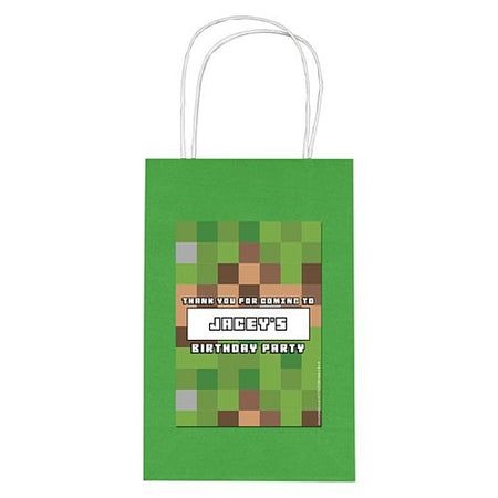 Personalised Pixel Blocks Paper Party Bags - Pack of 4
