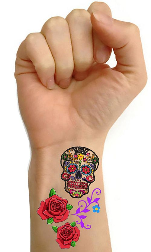 Day Of The Dead Tattoos- Sheet Of 16