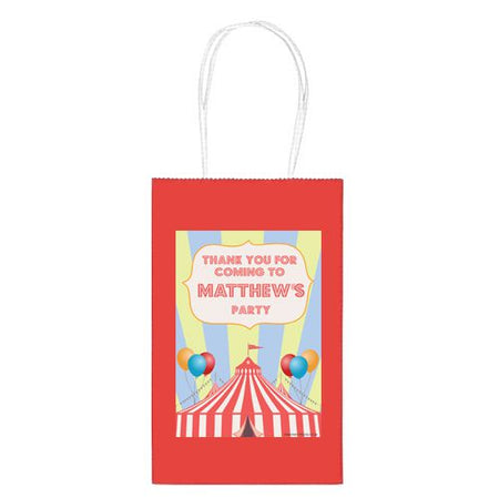 Personalised Circus Paper Party Bags - Pack of 12
