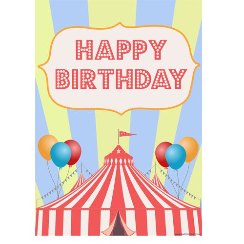 Circus Happy Birthday Poster- A3