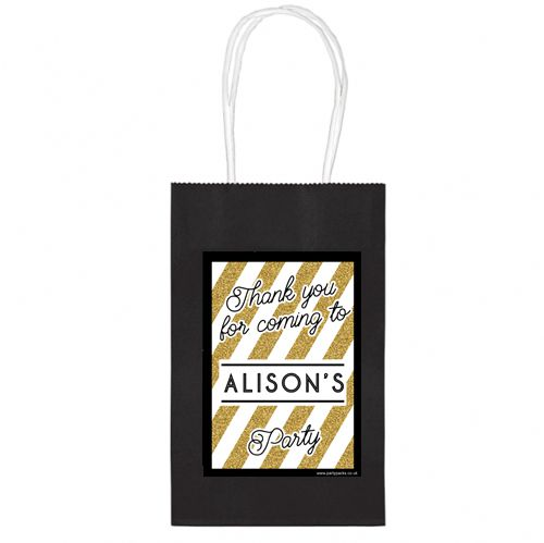 Personalised Black And Gold Paper Party Bags - Pack of 4
