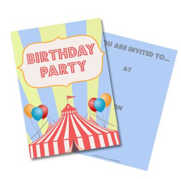 Circus Invites - Pack of 8