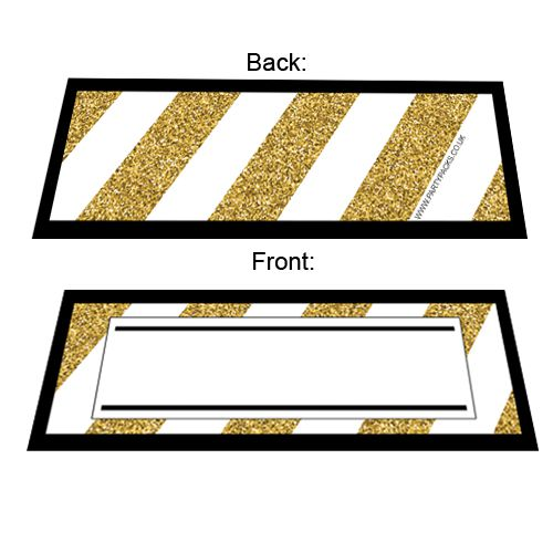 Black And Gold Placecards- Pack Of 8