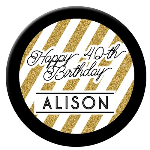 Personalised Badge 58mm- Black And Gold
