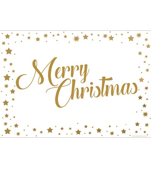 Gold Stars Merry Christmas Poster- A3