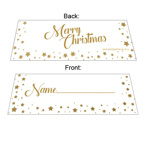 Gold Stars Merry Christmas Placecards - Pack of 8