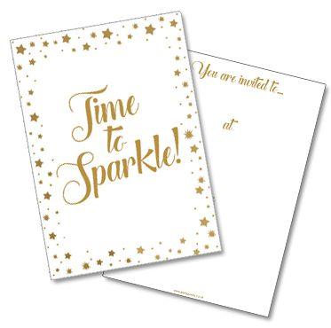 Gold Star 'Time To Sparkle' Invites (Pack of 8)