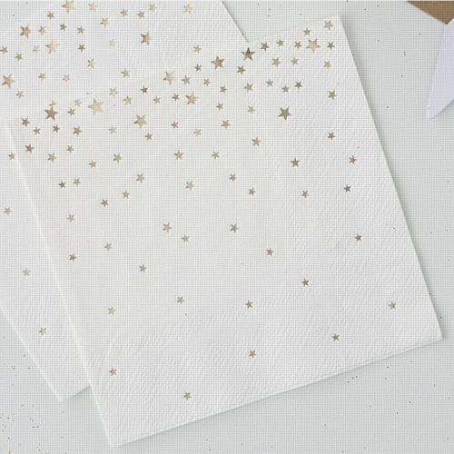 Gold Metallic Star Napkins - 25cm - Pack of 20