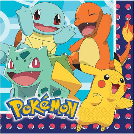 Pokemon Luncheon Napkins - 33cm - Pack of 16