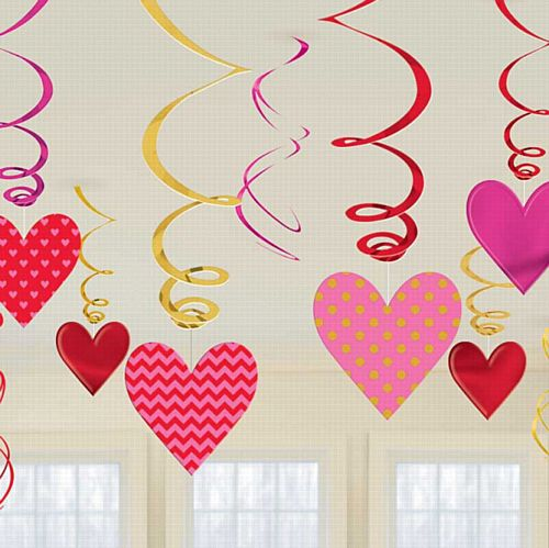 Valentine's Day Swirl Decorations - Pack of 12