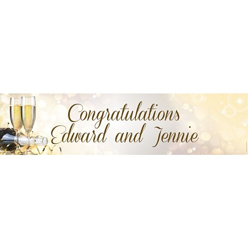 Celebration Champagne Personalised Banner - 1.2m