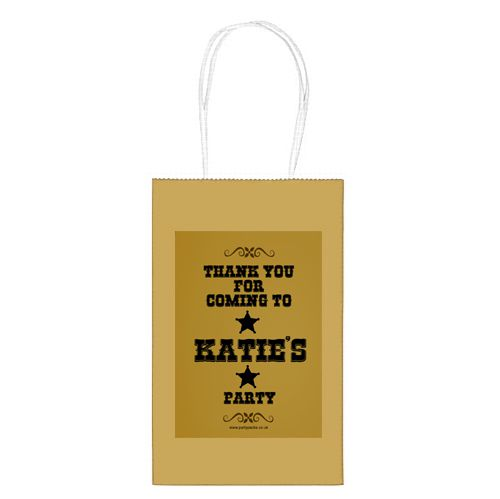 Personalised Wild West Paper Party Bags - Pack of 12