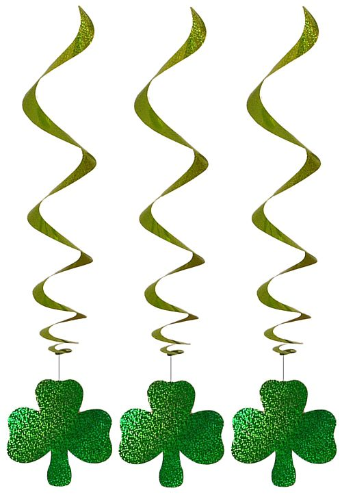 Hanging Spiral Shamrock Decorations - Pack of 3