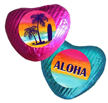Tropical Sunset Heart Chocolates - Pack 24