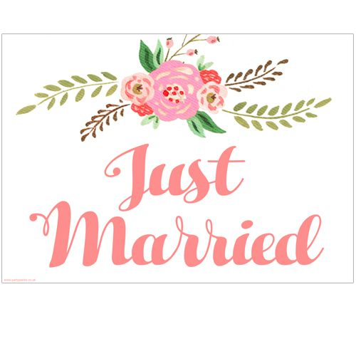 Just Married Boho Flowers Poster- A3