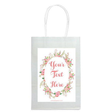 Personalised Boho Flowers Paper Party Bags - Pack of 12