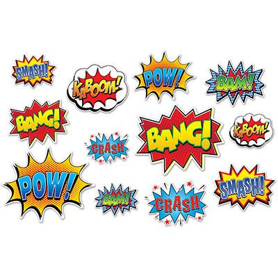 Superhero Action Sign Cutouts - 32cm - Pack of 12