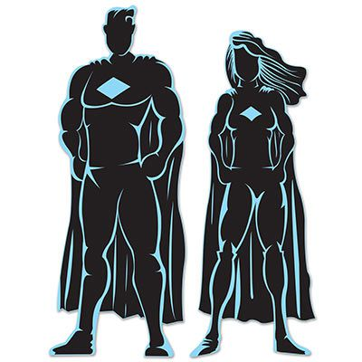 Superhero Silhouettes - 91cm - Pack of 2