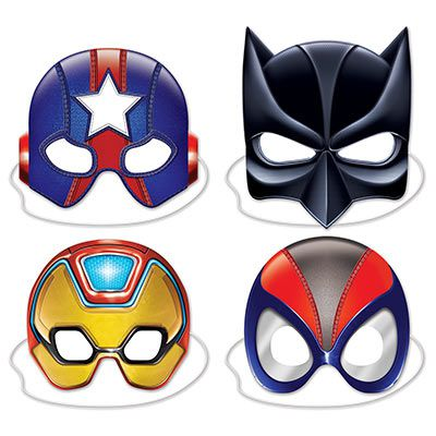 Deluxe Superhero Masks - 25cm - Pack of 4