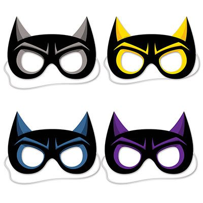 Superhero Masks - 21cm - Pack of 4