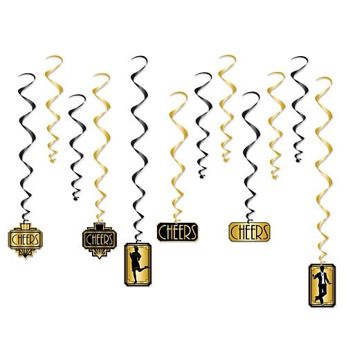 Gatsby Whirls Hanging Decorations - 81cm - Pack of 12