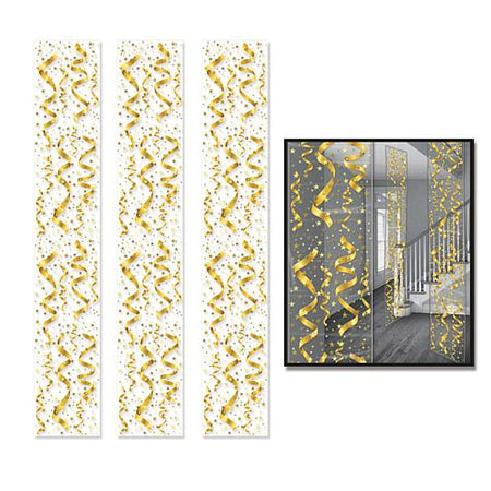 Gold Confetti Hanging Backdrop - 1.8m - Pack of 3
